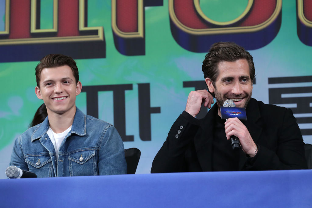 Tom Holland and Jake Gyllenhaal on a panel.