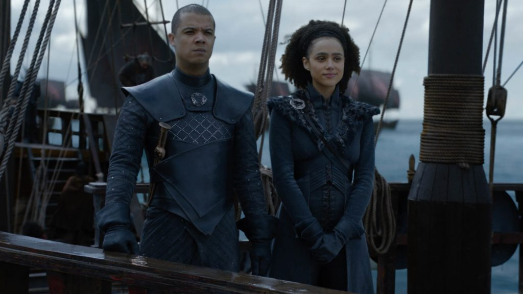 Jacob Anderson (Grey Worm) and Nathalie Emmanuel (Missandei) in Game of Thrones season 8