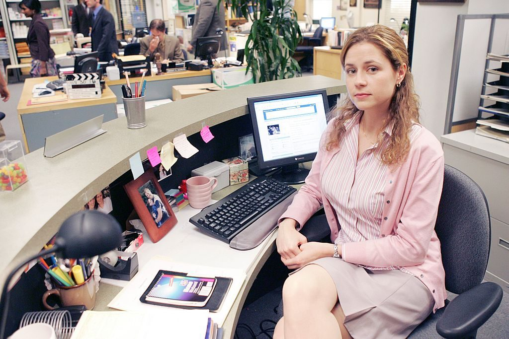 Jenna Fischer as Pam Beesly on set of The Office
