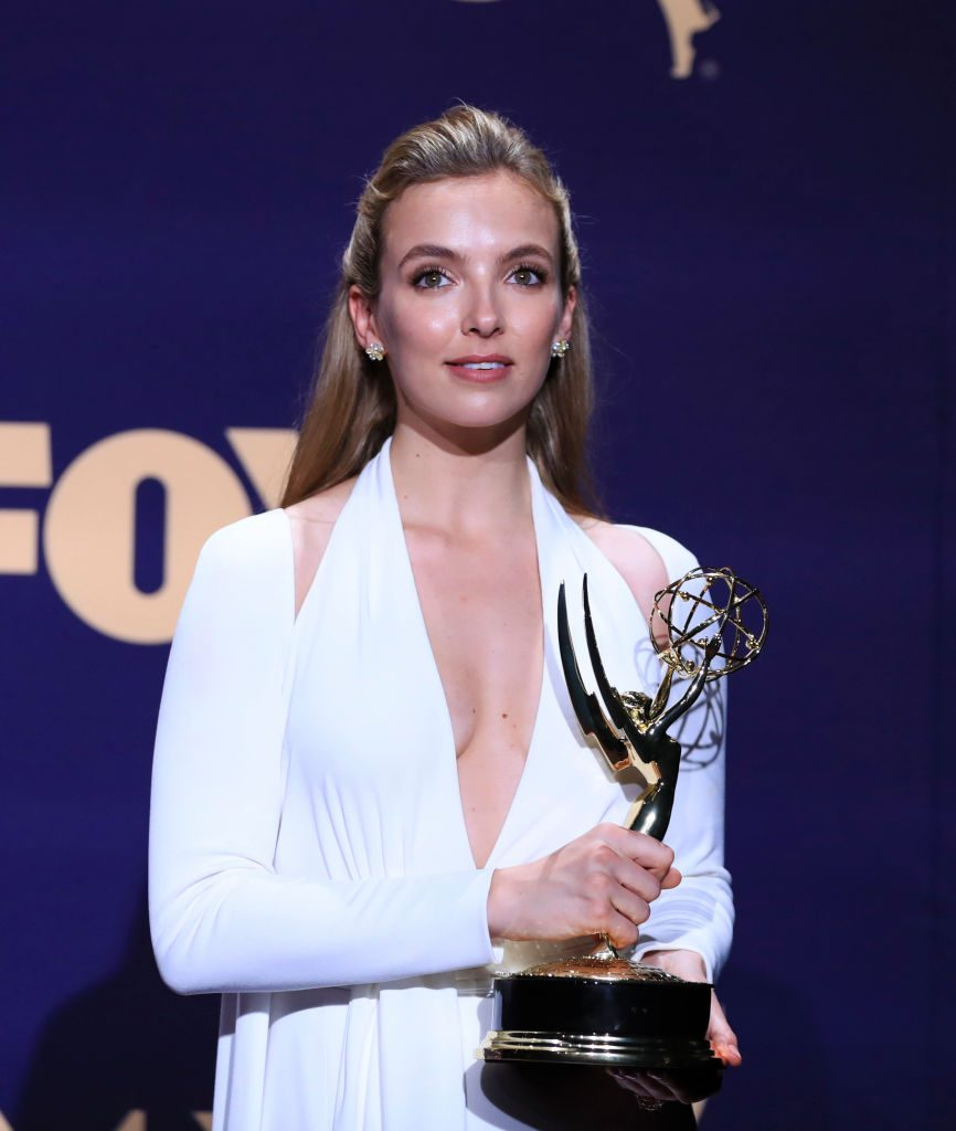 Jodie Comer at the Emmys winning for Killing Eve