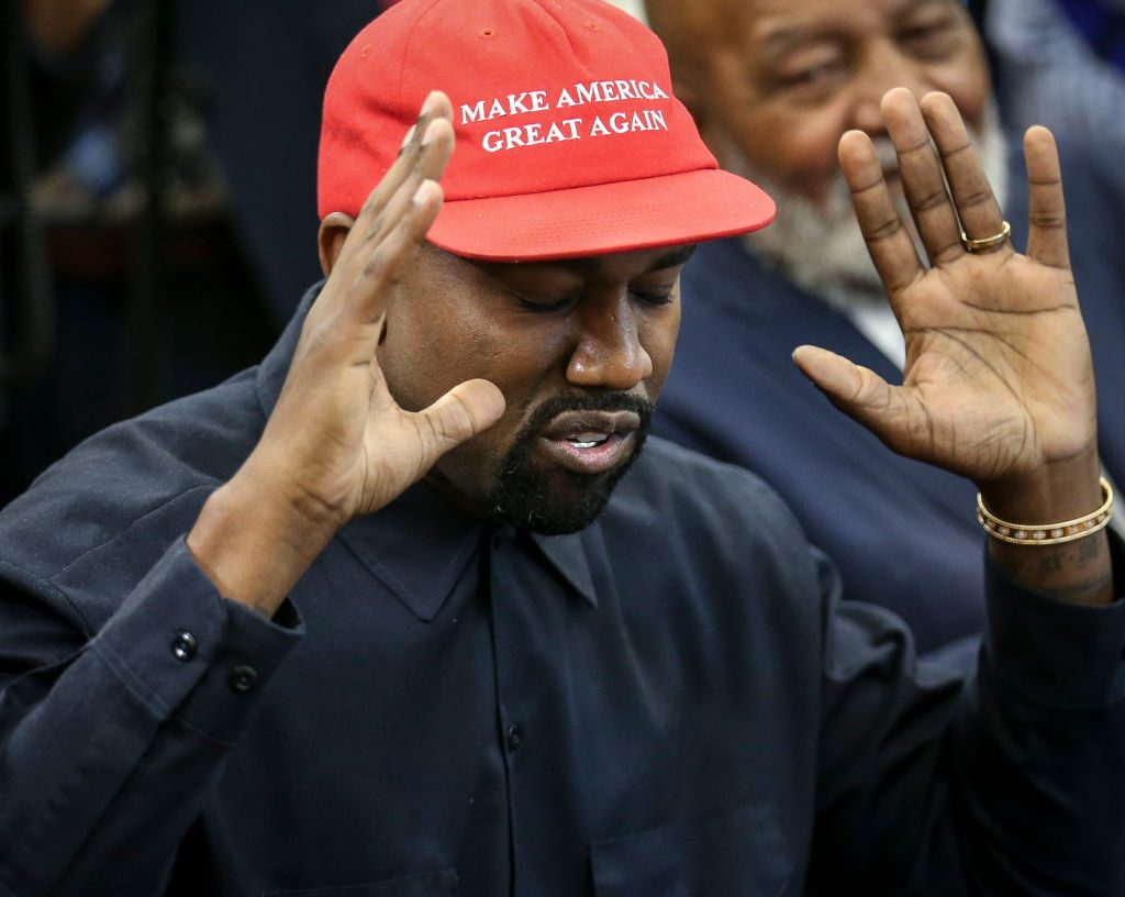 Kanye West speaking during a meeting with President Donald Trump in the Oval Office of the White House