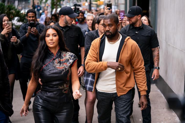 Kim Kardashian and Kanye West walking down the street in NYC