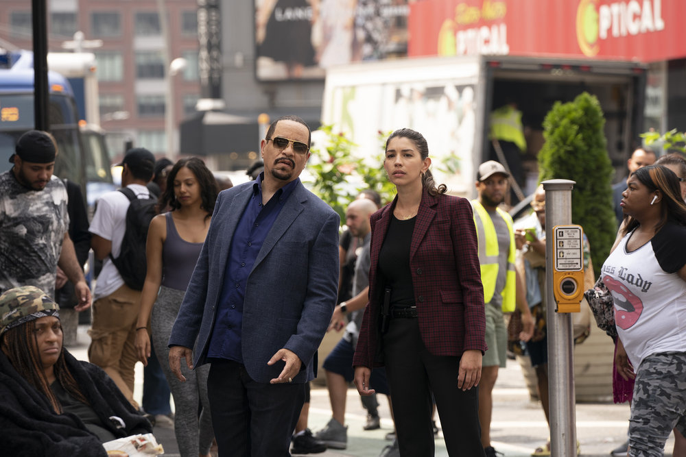 Ice-T and Jamie Gray Hyder as Fin Tutuola and Kat Tamin