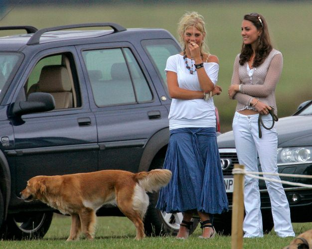 Chelsy Davy and Kate Middleton watch Prince Harry and Prince William play in a charity polo match on July 29, 2006.