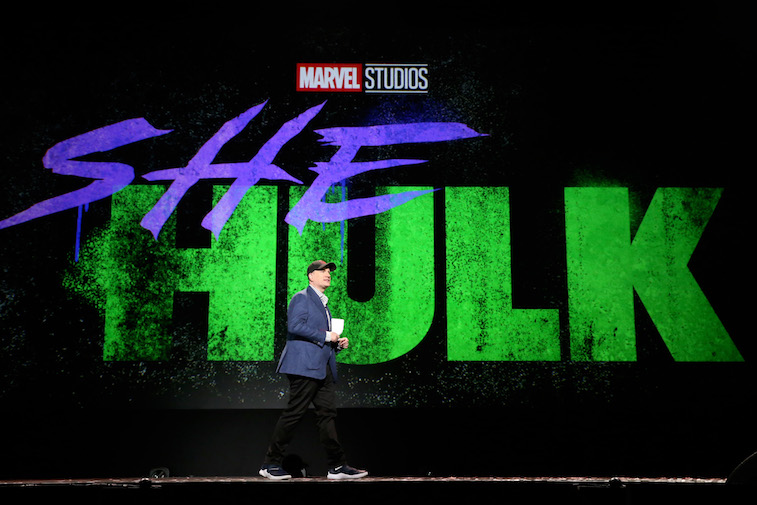 Kevin Feige onstage at D23
