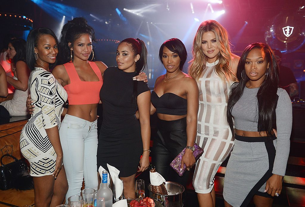 Brandi Wilson, Cassie, Lauren London, Malika Haqq, Khloe Kardashian and Khadijah Haqq at a club