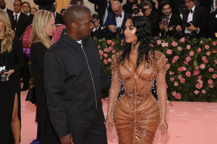 Kim Kardashian and Kanye West arriving at the Met Gala