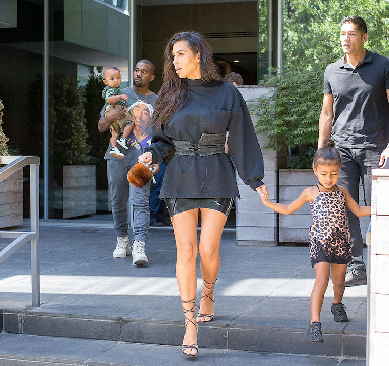 Kim Kardashian and Kanye West with North and Saint in 2016.