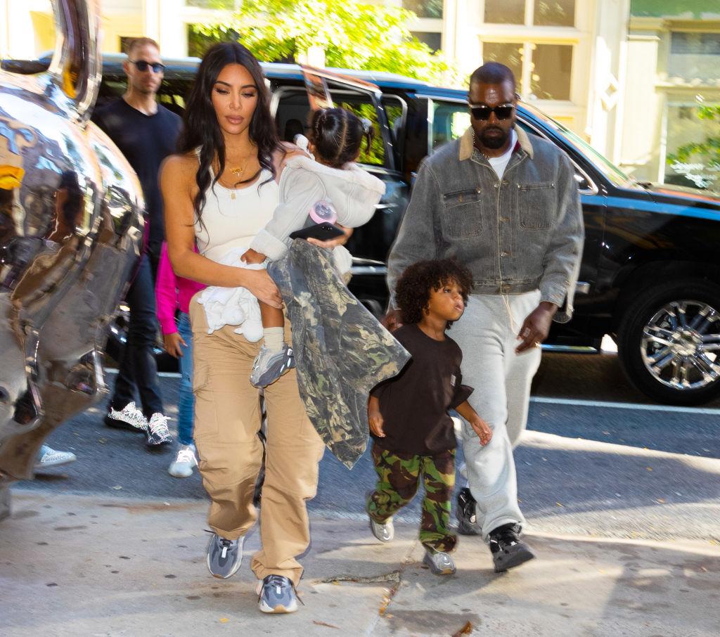 Kim Kardashian, Kanye West, and their kids North, Saint, Chicago, and Psalm