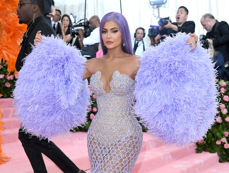 Kylie Jenner wearing a purple outfit at the 2019 Met Gala