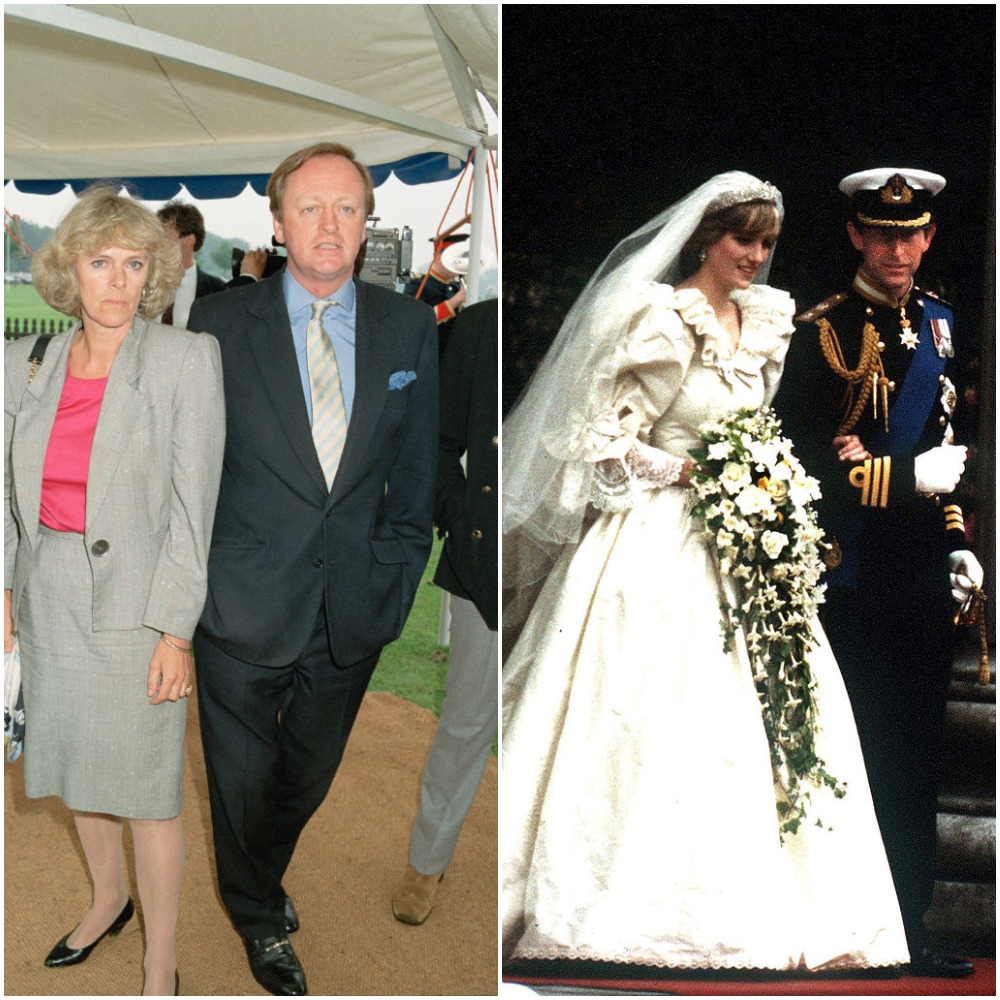 (L): Camilla and Andrew Parker Bowles, (R): Prince Charles and Princess Diana's wedding  