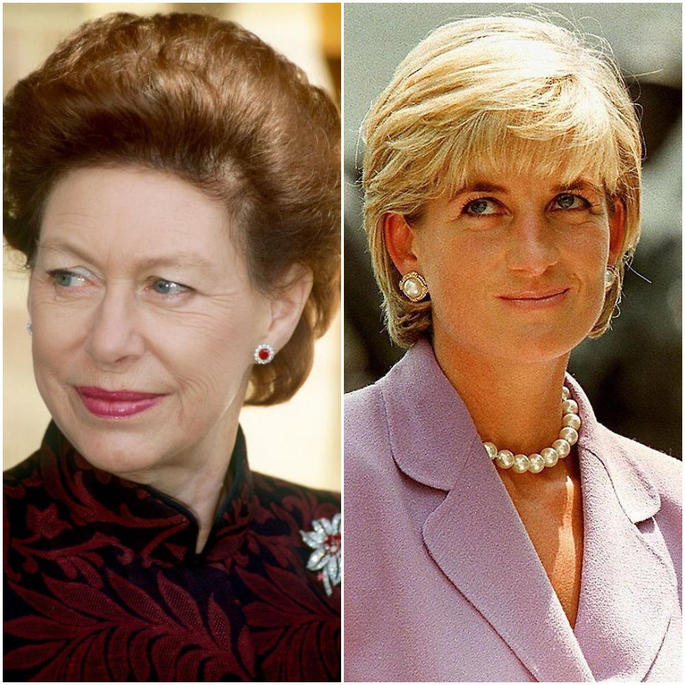 (L): Princess Margaret, (R): Princess Diana