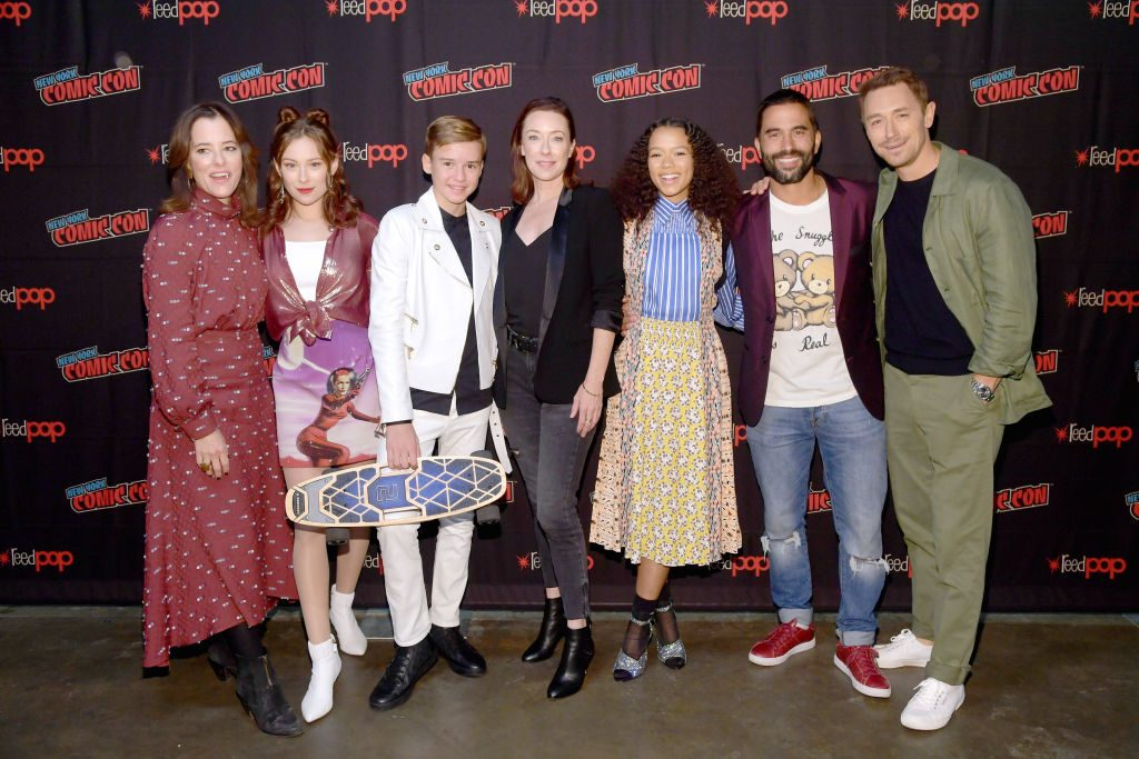 Parker Posey, Mina Sundwall, Maxwell Jenkins, Molly Parker, Taylor Russell, Ignacio Serricchio, and Toby Stevens attend the Netflix Presents: Lost in Space at New York Comic Con 2019
