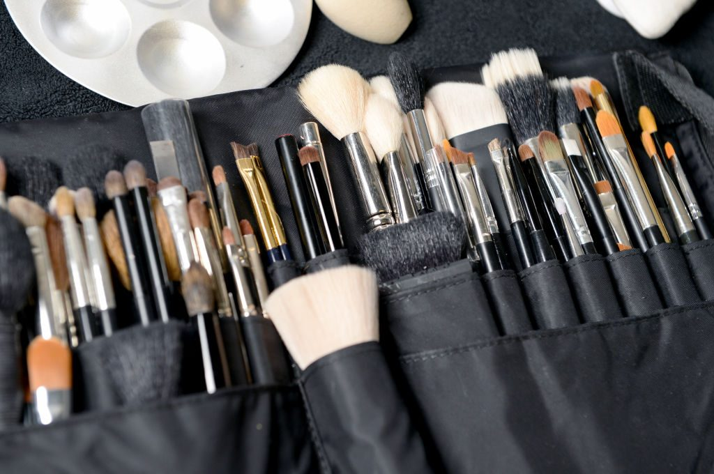 Make-up brushes backstage ahead of the Pringle of Scotland show