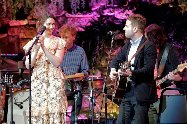 Mandy Moore and Taylor Goldsmith on stage