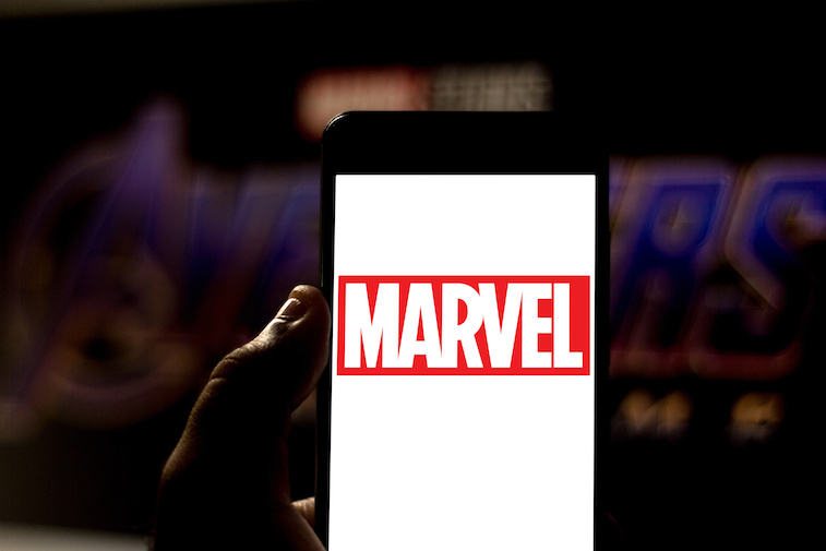 Marvel logo shown on a phone screen
