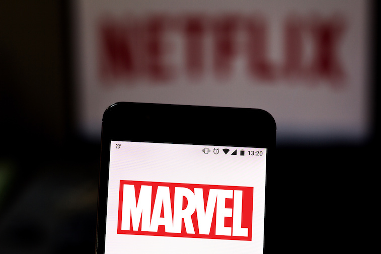 Marvel logo shown on a mobile phone screen