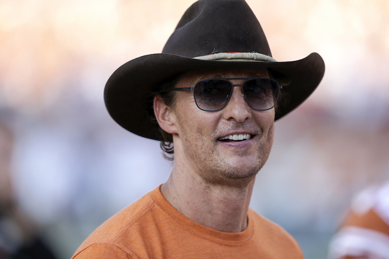 Matthew McConaughey watching a football game