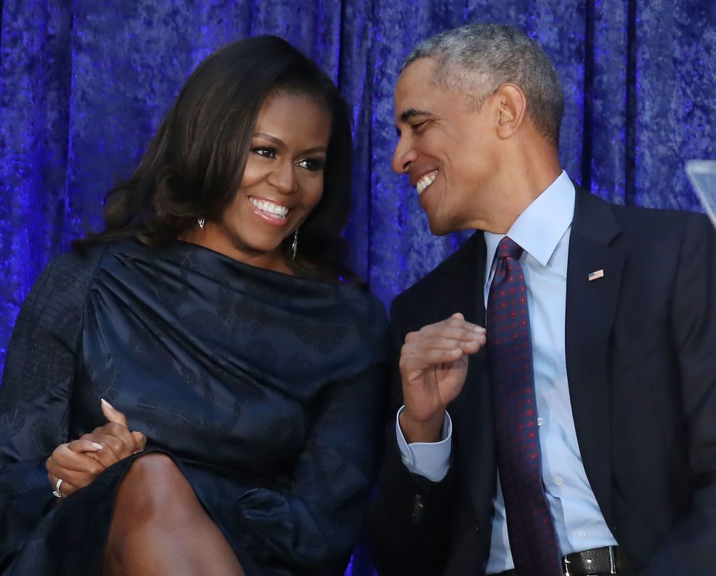 U.S. President Barack Obama and first lady Michelle Obama onstage