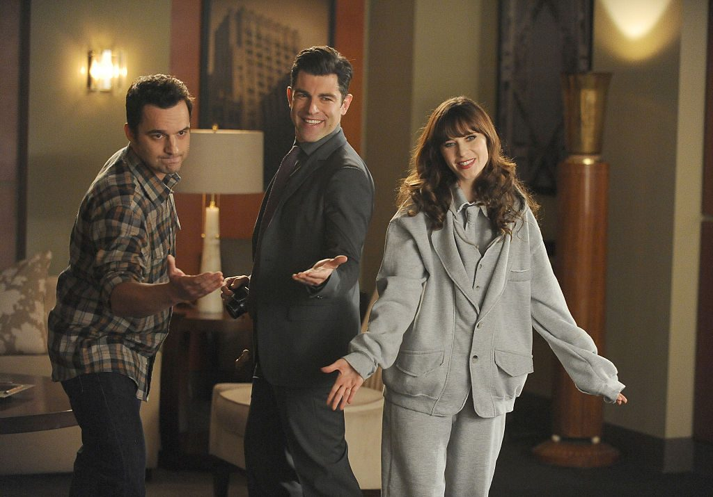 Jake Johnson as Nick Miller, Zooey Deschanel as Jess Day and Max Greenfield as Schmidt in 'New Girl'