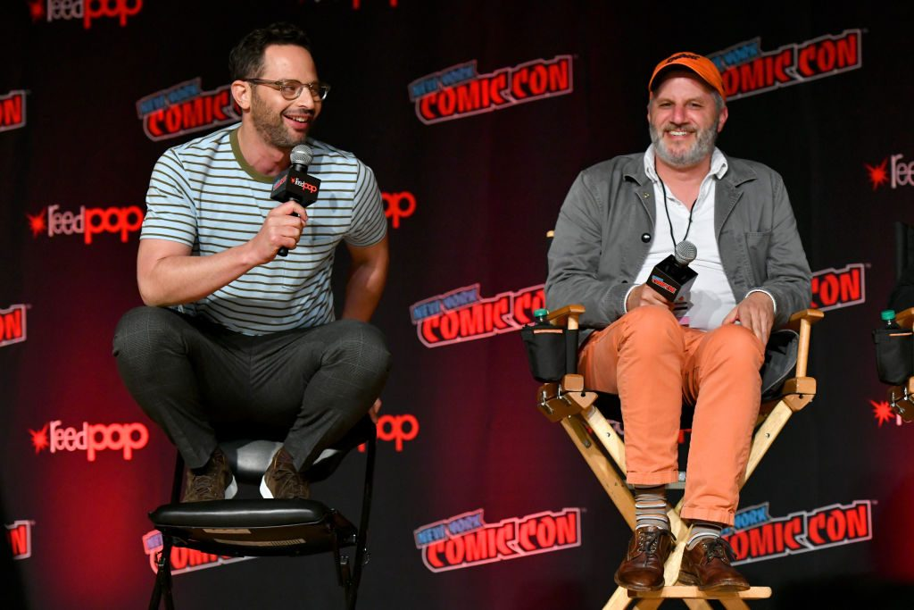 Nick Kroll and Mark Levin speak onstage during the 'Big Mouth' panel during New York Comic Con