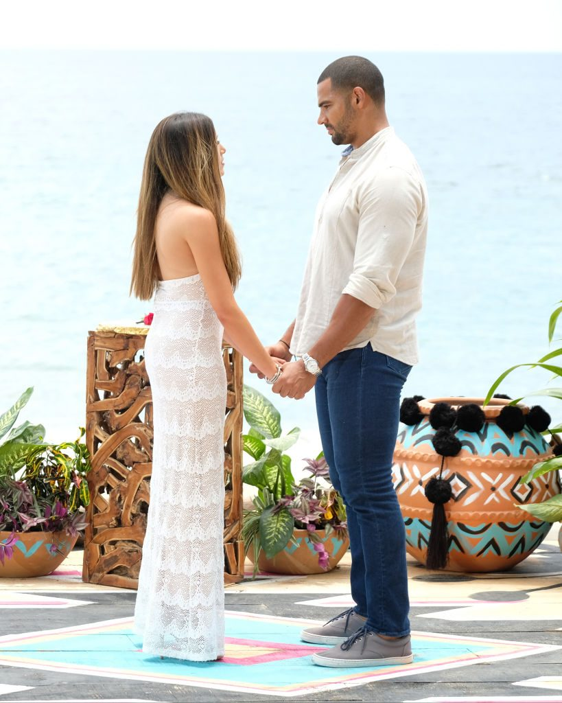 Nicole Lopez-Alvar and Clay Harbor during the Bachelor in Paradise finale