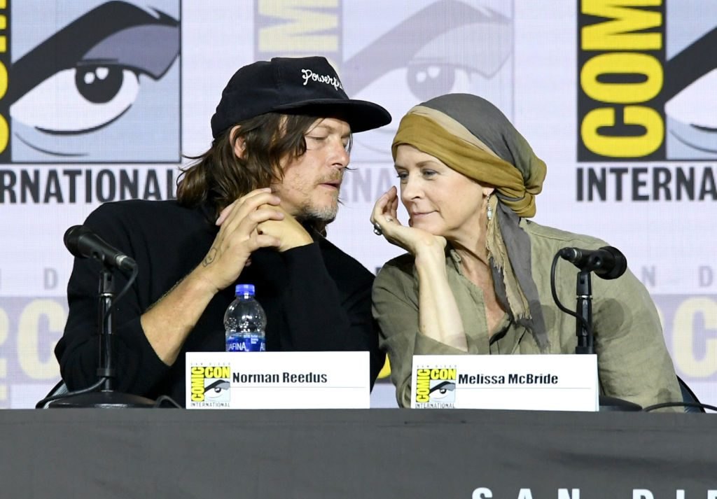 Norman Reedus and Melissa McBride speak at 'The Walking Dead' Panel during 2019 Comic-Con
