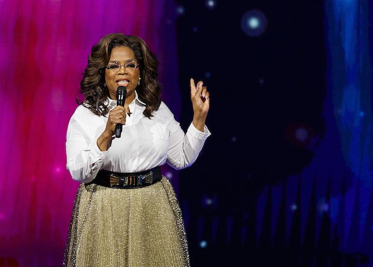 Oprah Winfrey speaks onstage