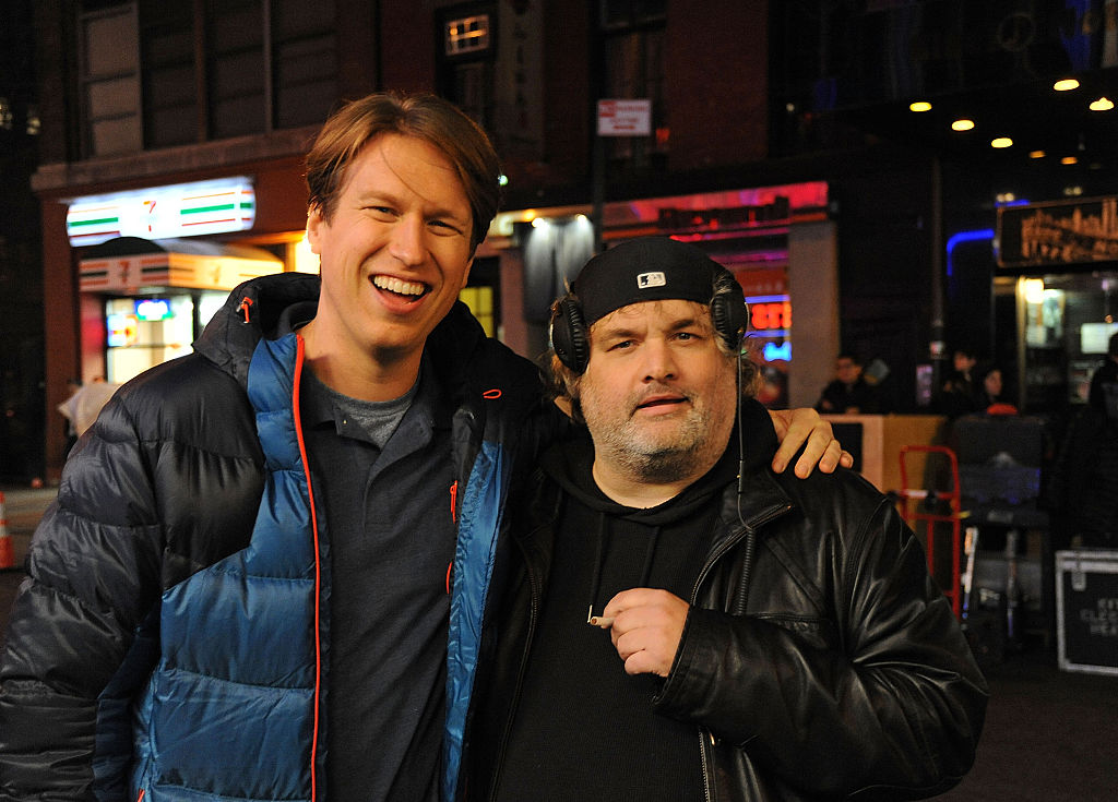 Comedians Pete Holmes and Artie Lange on the set of HBO's pilot 'Crashing'