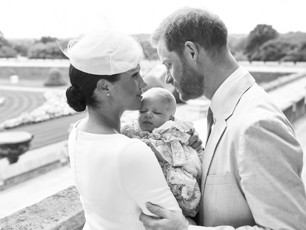 Prince Harry, Duke of Sussex (R), and his wife Meghan, Duchess of Sussex and Archie Harrison Mountbatten-Windsor at Windsor Castle