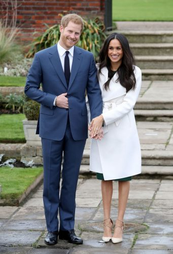 Prince Harry and Meghan Markle during their engagement photocall, 20117