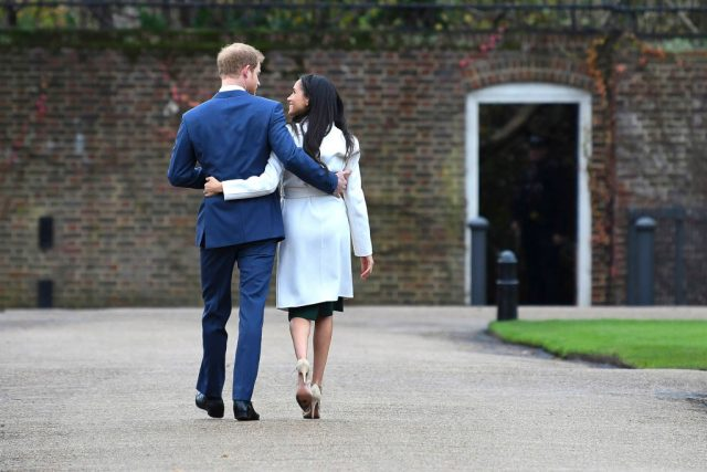 Prince Harry and Meghan Markle leave their official engagement photocall, 2017