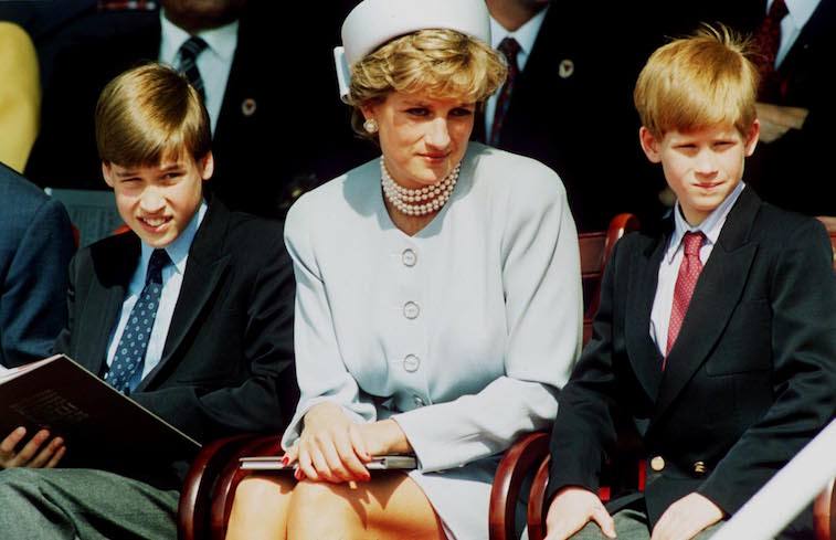 Princess Diana with young princes William and Harry