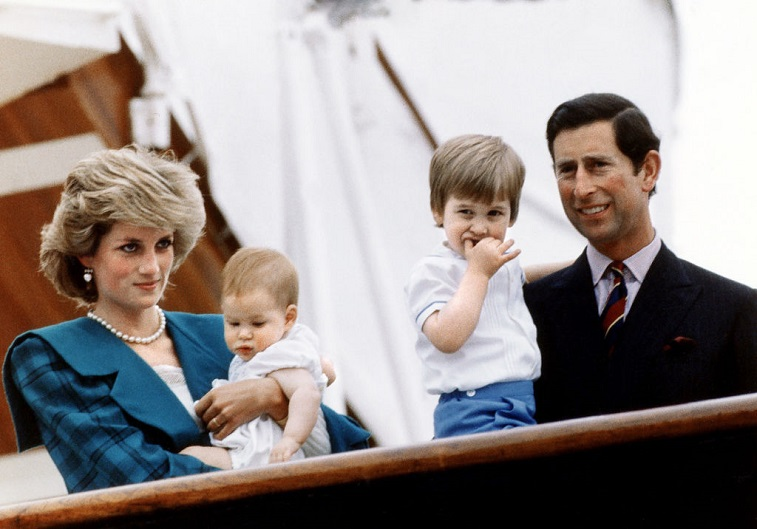 Princess Diana and Prince Charles with Princes Harry and Prince William