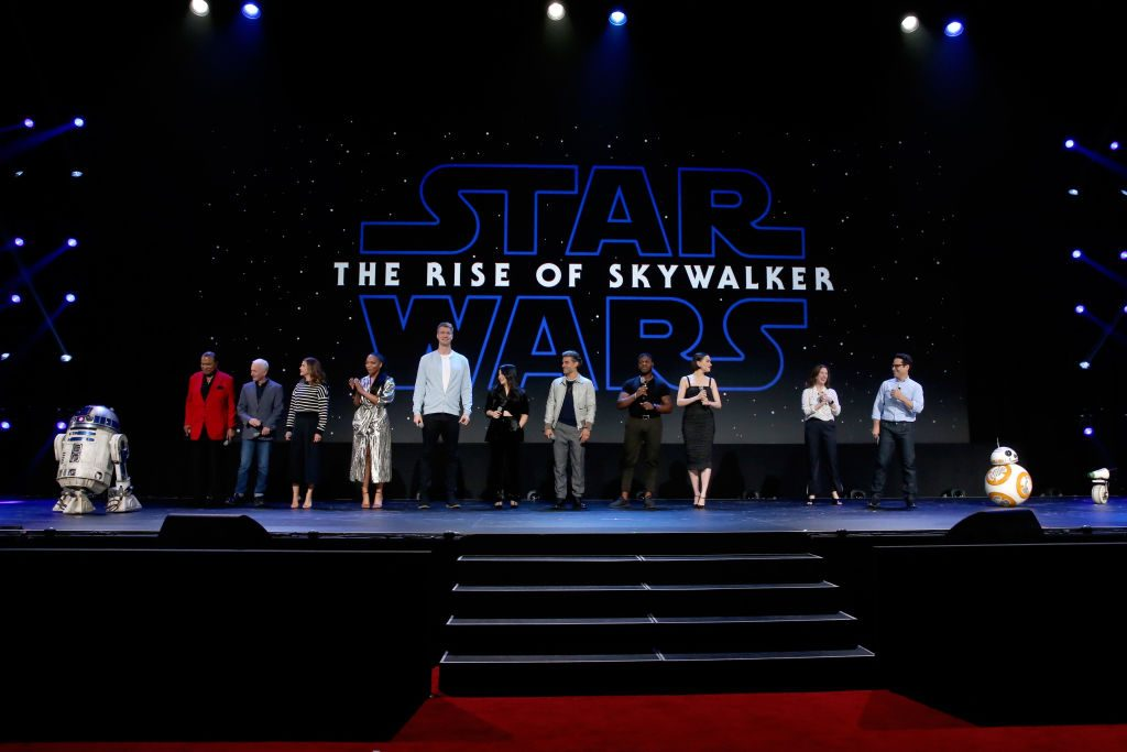 Billy Dee Williams, Anthony Daniels, Keri Russell, Naomi Ackie, Joonas Suotamo, Kelly Marie Tran, Oscar Isaac, John Boyega, Daisy Ridley, Producer Kathleen Kennedy, and Director/producer/writer J.J. Abrams of 'Star Wars: The Rise of Skywalker'