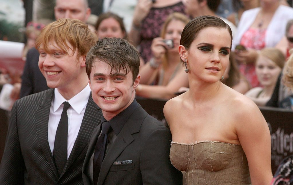 Harry Potter cast (Rupert Grint, Daniel Radcliffe, Emma Watson)at the premiere of Deathly Hallows Part Two