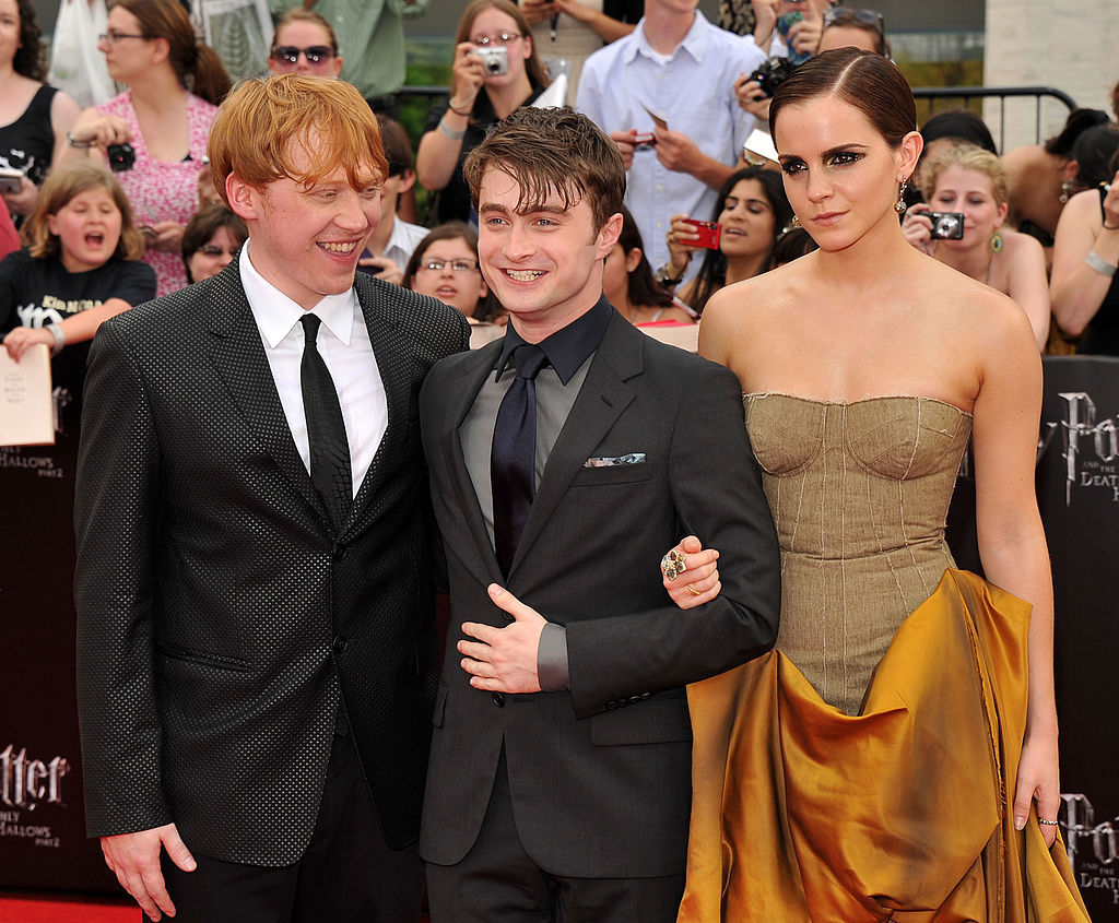 Harry Potter cast (Rupert Grint, Daniel Radcliffe, and Emma Watson) at the Deathly Hallows Part Two premiere