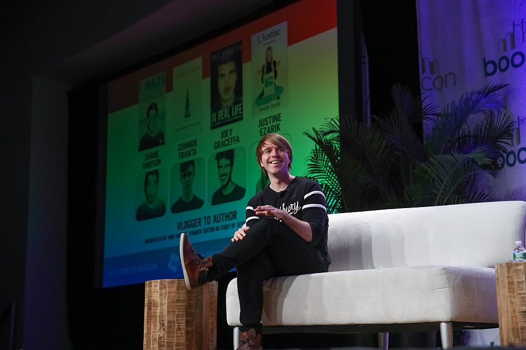 """Shane Dawson appears on stage during """"Vlogger to Author"""""""