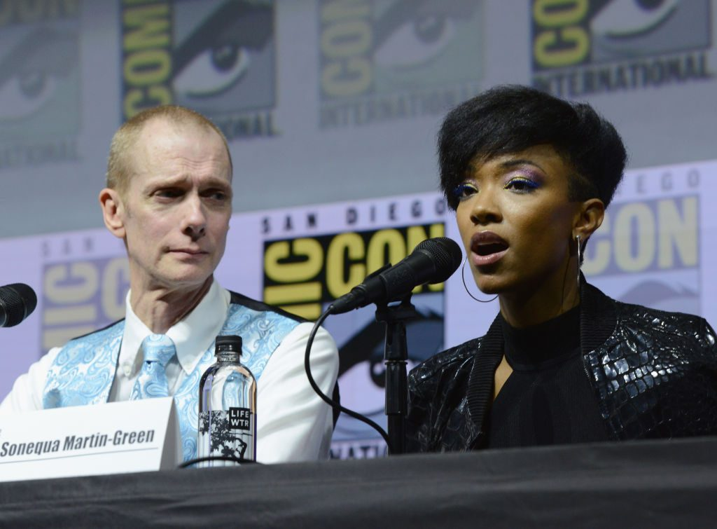 Doug Jones and Sonequa Martin-Green speak onstage at the 'Star Trek: Discovery' panel during Comic-Con International 2018