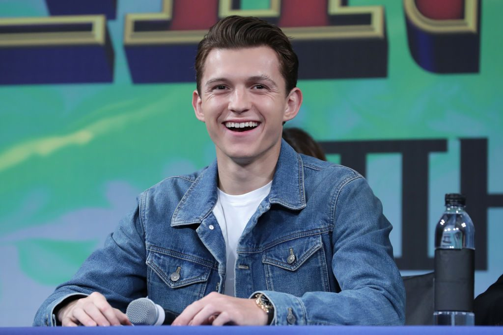 Actor Tom Holland attends the press conference for 'Spider-Man: Far From Home'