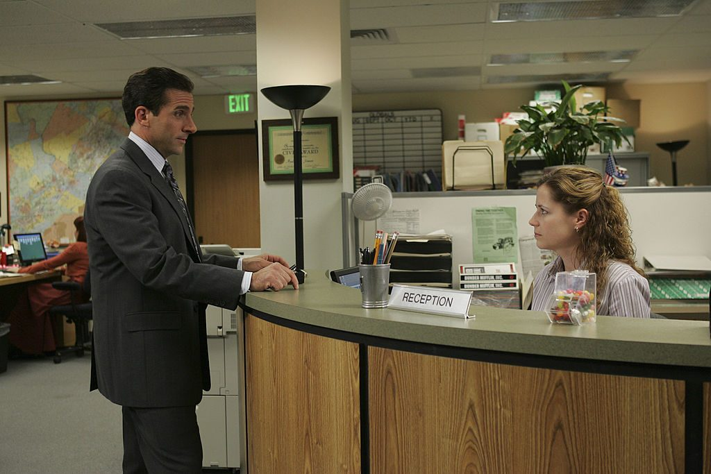 Steve Carell and Jenna Fischer on set of The Office