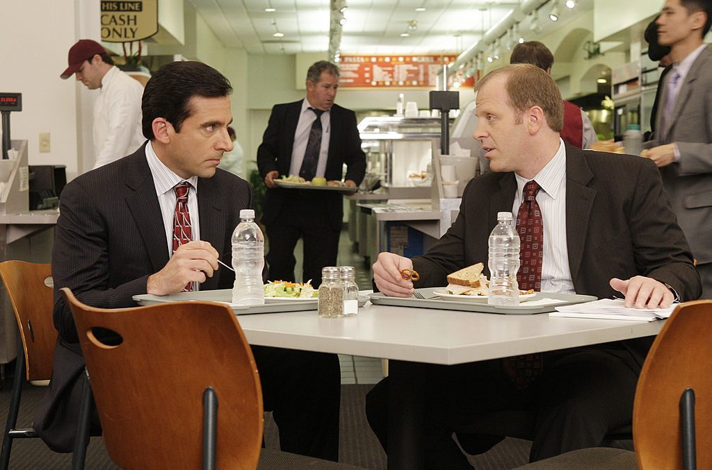 Steve Carell as Michael Scott and Paul Lieberstein as Toby Flenderson on set of The Office