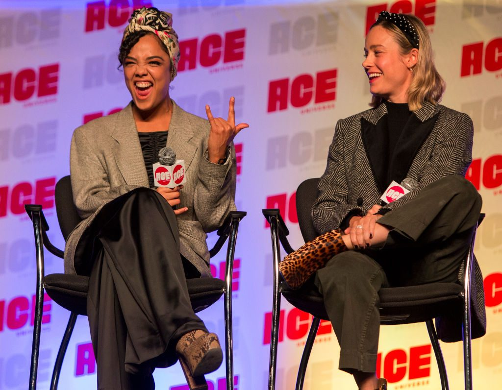 Tessa Thompson and Brie Larson at 2019 ACE Comic Con Midwest