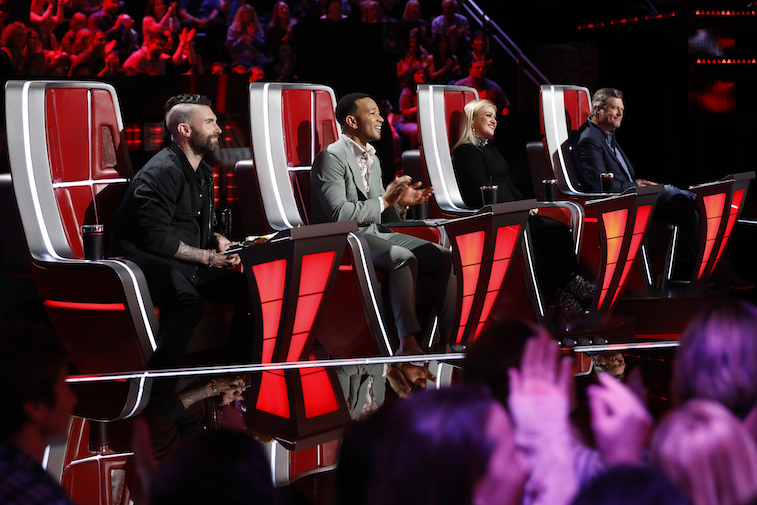 The coaches of The Voice in their chairs during the show