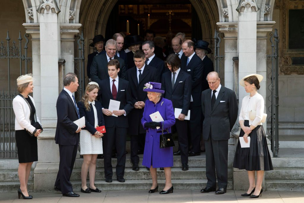 Queen Elizabeth II and her extended family at a service for Lord Snowdon.