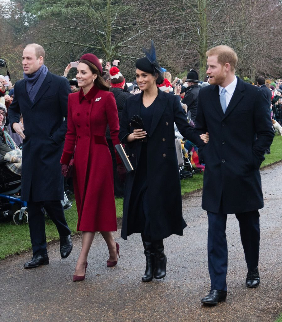 Prince William, Duke of Cambridge, Catherine, Duchess of Cambridge, Meghan, Duchess of Sussex and Prince Harry, Duke of Sussex attend Christmas Day Church service at Church of St Mary Magdale