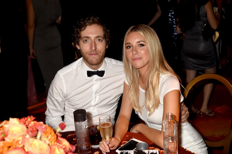 Thomas Middleditch and Mollie Grant at a table at an Emmys after party