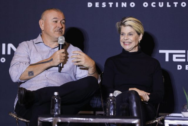 Tim Miller and Linda Hamilton at a press conference for 'Terminator: Dark Fate'