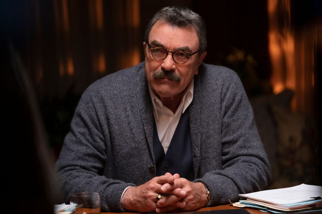 Tom Selleck on the set of Blue Bloods. | Patrick Harbron/CBS via Getty Images