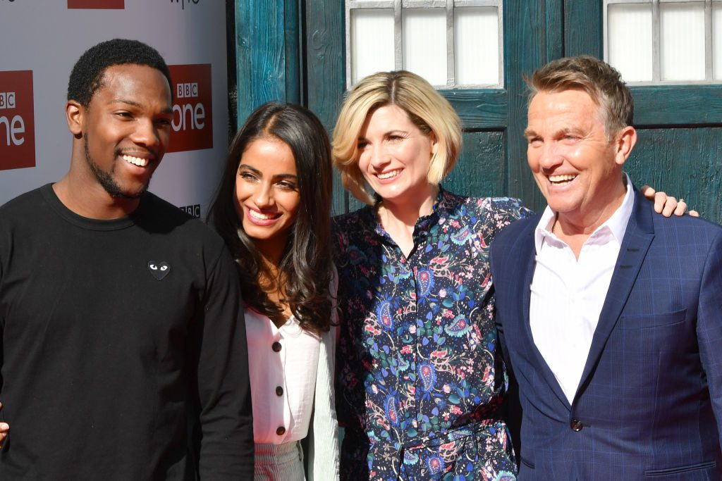 Doctor Who cast (Tosin Cole, Mandip Gill, Jodie Whittaker, and Bradley Walsh) at the premiere